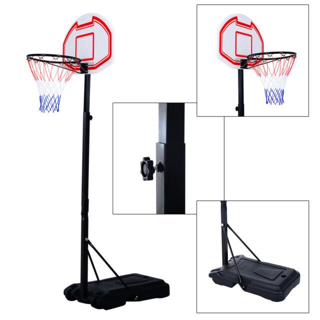 Soozier Adjustable Basketball Hoop System Stand Kids Outdoor Net Goal w/ Wheels