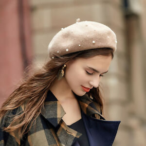 7cb0a5085975c Military French Wool Berets with Pearls for Women Casual Classic ...