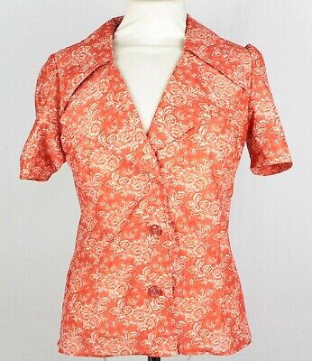 US 6 EU 38 1970s Navy and White Floral Shirt Size UK 10