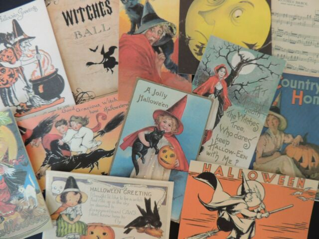 12 Pc Set VINTAGE Halloween WITCHES Witch DIE CUTS for CRAFTS & CARDS || H35