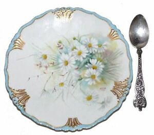 Limoges-Jean-Pouyat-Hand-PaintedDaisy-Plate-Sheffield-Silver-Spoon-Antique-1901