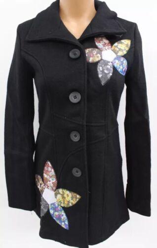 Long 10 Broderet 8 Dysthe Størrelse Black Woolens Women's Peacoat Flower Jacket qTxUXPR