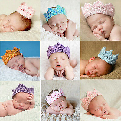 2014 Newborn Baby Girl Boy Christmas Knit Crown Headband Cap Crochet Hat Costume