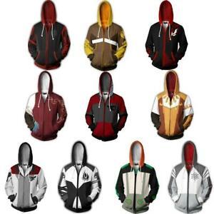 RWBY Anime Casual Hoodie Sweatshirts Coat Zip Up Jacket Cosplay Costume Unisex