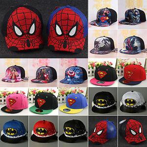 garcon-fille-enfants-Hip-Hop-reglable-Superman-Batman-casquette-de-baseball