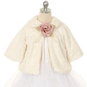 Flower girl faux fur coat half jacket wedding winter christmas pageant