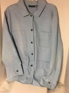 relativity-Woman-Jacket-Denim-Sz-2X-Light-Blue-Button-Up-Casual-Cotton-Blend