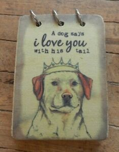 Fabric-note-pad-pocket-notebook-A-Dog-says-I-love-you-with-his-tail-UK-SELLER