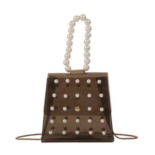 Pearls Clear Shoulder Messenger Handbags PVC Women Crossbody Top-handle Bag Tote