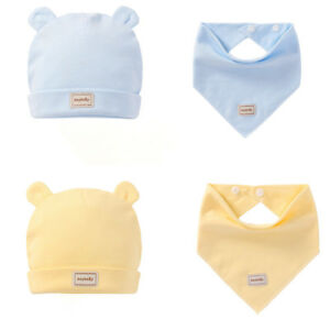 Lovely Cotton Baby Hats Bibs Tire Cap Solid Infant Toddler Ear Caps 0-3T Unisex