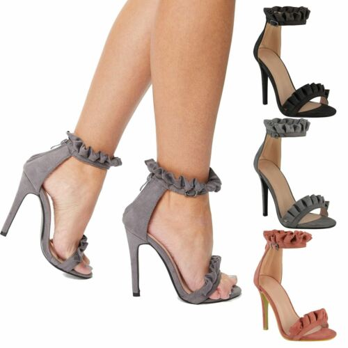 WOMENS LADIES HIGH STILETTO HEEL ANKLE STRAP RUFFLED UK PARTY SANDALS SHOES SIZE