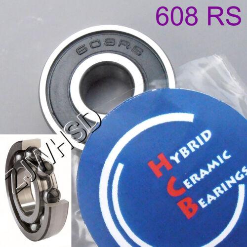 608 2RS Si3N4 Ceramic Ball Bearing Rubber Sealed Skateboard Skate 8 x 22 x 7 mm