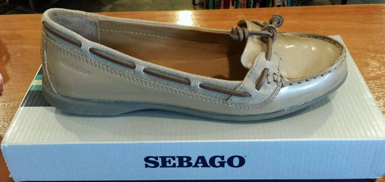 Sebago Women's Patent Leather Beige Moccasin Ballerina Flats  Like Sperry B66800