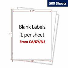 500 Premium Shipping Labels 85 X 11 Full Sheet Blank Labels Self Adhesive Us