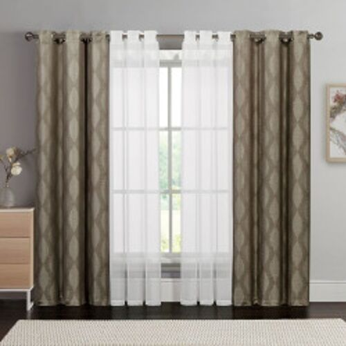 Set Of 2 Victoria Clics Vcny Double Layer Curtains Sheers 38 X 84 Black Ebay