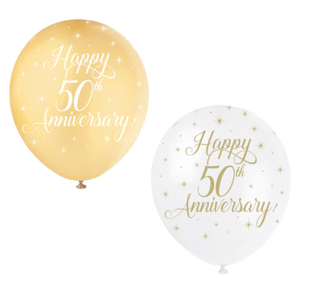 50th Wedding Anniversary Gold Balloons Pack of 12 Anniversary Party Decorations