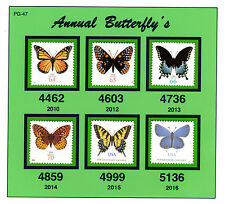U.S. Butterfly Stamps from 2010 to 2016 EXTRA FINE Premium Set XF-MNH  Pg-47