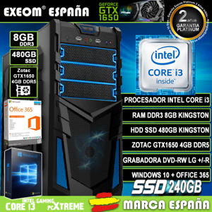 Ordenador-Gaming-Pc-Intel-i3-8GB-SSD-480GB-GTX1650-4Gb-Wifi-Sobremesa-Windows-10