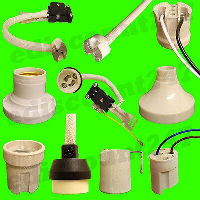 40+TYPES NEW UK REGULATION GU10 MR16 G9 G4 E14 ES E27 B22 Lamp Holder UK SELLER