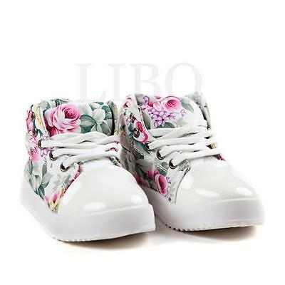Kid Girl high top Canvas Shoe Flower Sneaker Flat Walking Running Loafers Boots