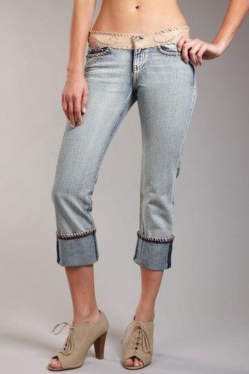 NEW My Tribe Stone Leather Embellished Western Low Rise Boho Capri Jeans 28 8-10