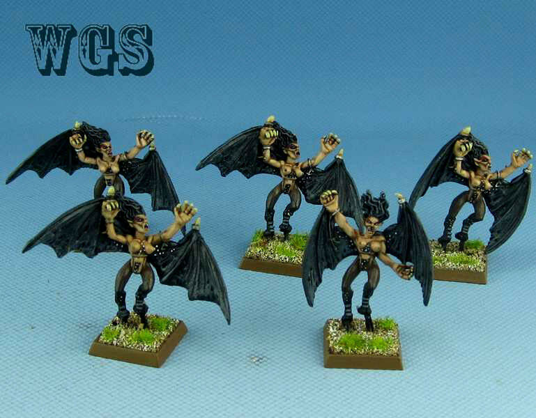 migliore offerta 25mm 25mm 25mm Warhammer fantasyc WGS painted Dark Elf Harpies (5 Foot) DK047  prezzi equi