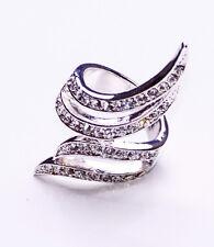 Attraversamento in Metallo Argento Diamante Borchie Ali Anello per serate glamour (zx47)