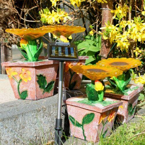 8x Außen LED Solar Blumen Steh Deko Lampen Garten Leuchte Blüten Veranda Hof Weg