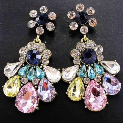 Déclaration Mixed Crystal Long Stud Hoop Dangle Boucles d/'oreilles pendantes livraison gratuite e388