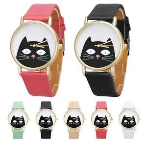 Cute-Cat-Cartoon-Face-Watch-Strap-Wrist-Quartz-Womens-Kids-Kitten-Animal-Girls