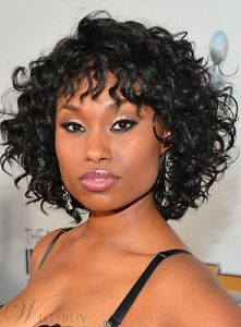 African American Short Curly Bob Hairstyle Synthetic Hair Womens Wig