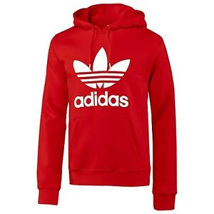 Adidas-Originals-Men-039-s-Trefoil-Red-Hoodie-Sizes-S-XL