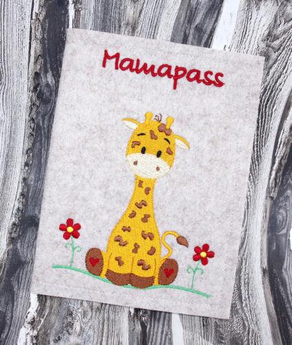 Bestickte Mutterpasshülle Hülle Mutterpass • Baby Giraffe  • Filz  hellmeliert