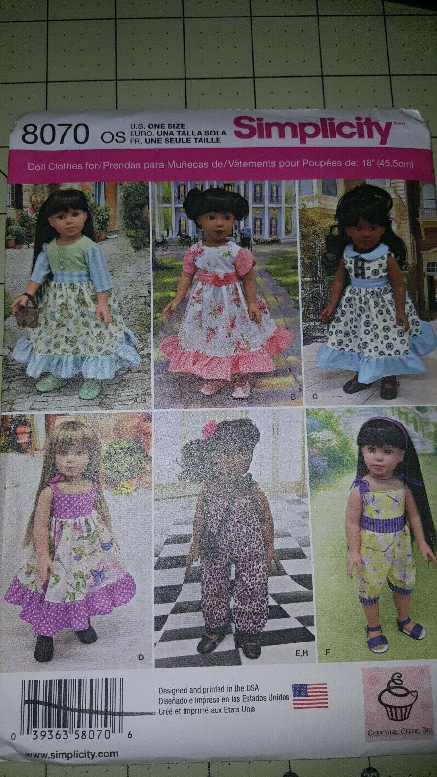 """New  Simplicity pattern 8070 doll clothes for 18/"""" Girl Dolls 6 outfits FREE SHIP"""