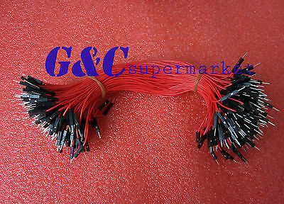 50PCS Dupont Wire Jumper Cable 2.54mm Male to Male Length: 25cm Red Colour