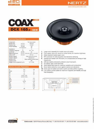 Hertz DCX 165.3 Kit Completo Casse Altoparlanti Posteriori Audi A3 Dal 2003/>