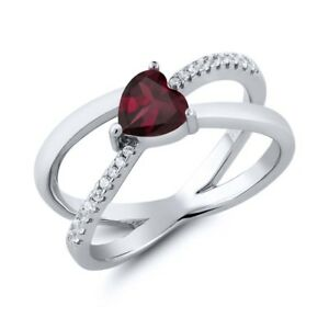 SVC-JEWELS 14K Rose Gold Over 925 Sterling Silver Round Cut Red Garnet Criss Cross X Wedding Band Ring Men