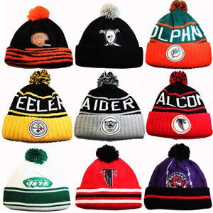d399b89c8fe Mitchell   Ness NFL Cuffed Knit Pom Beanie Winter Hat Vintage Team ...