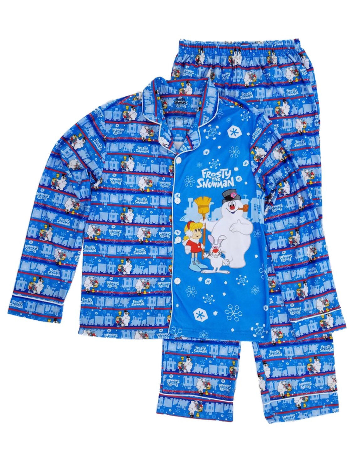 Frosty The Snowman Mens 2-Piece bluee Flannel Sleepwear Pajama Set