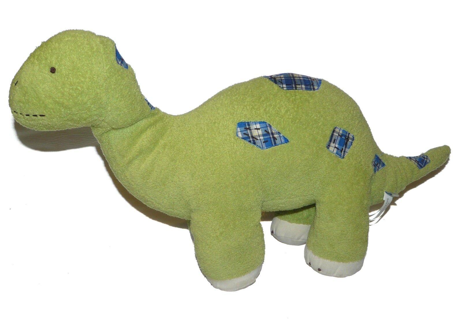 Pottery Barn Kids verde Dinosaur blu Plaid Patches Plush Stuffed Animal 22