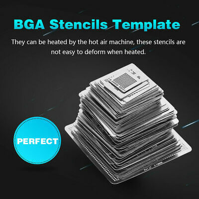 27Pcs BGA Reball Reballing Rework Net Universal Stencils Directly Heat Set Steel