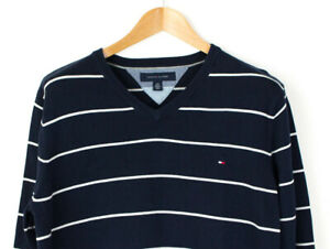 Tommy Hilfiger Hommes Rayé Pull Cardigan Taille L AGZ182