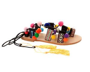 Ladies Womens Sandals Flat Black 8 Beach Pom Strappy 3 Around Poms Wrap Summer 4grvq4