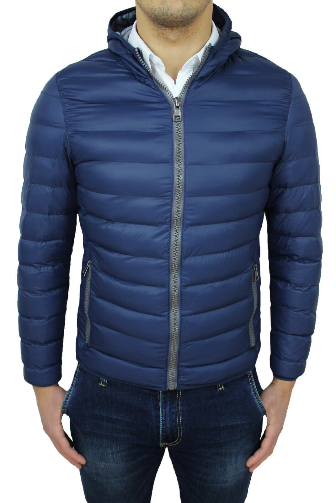 Jacke Daunenjacke Herren Diamant Casual Blau Slim Fit Jacke Jacke mit Kapuze