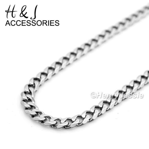 """20/""""MEN Stainless Steel 3mm Silver Cuban Curb Necklace Simple Cross Pendant*SP"""