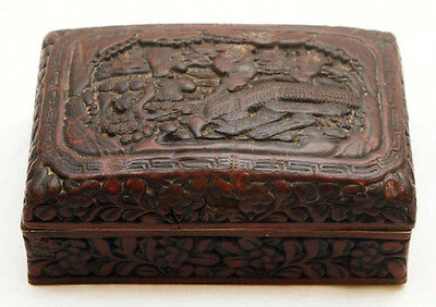 """Antique Chinese Cinnabar Box,  Qing Dynasty, Hand Carved 1850-1900, 5.5"""" long"""