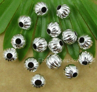 SILVER PLATED Metal PUMPKIN Round Spacer BEADS - Choose 4MM 6MM 8MM