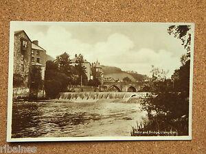 R-L-Postcard-Real-b-w-Photo-Weir-and-Bridge-Llangollen-Wales