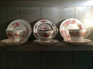 3-Pretty-Vintage-Mix-amp-Match-English-China-Trios-Tea-Cup-Saucer-Pink-Floral