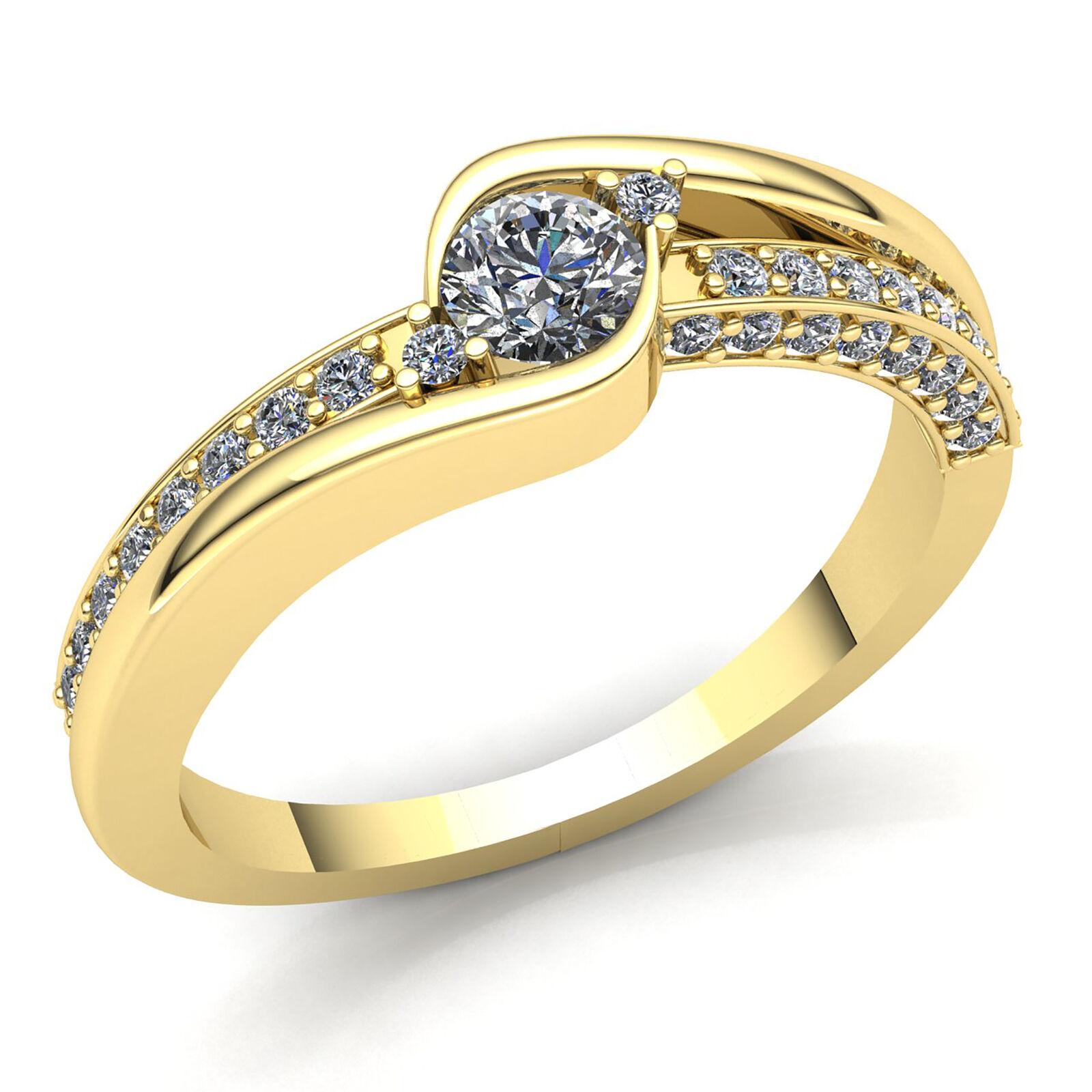Natural 1ct Round Cut Diamond Ladies Bridal Solitaire Engagement Ring 10K gold